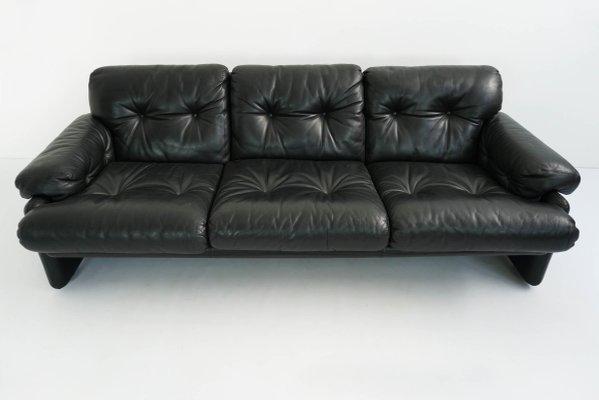 Vintage Black Leather Coronado 3 Seat Sofa By Tobia U0026 Afra Scarpa For Bu0026B  Italia