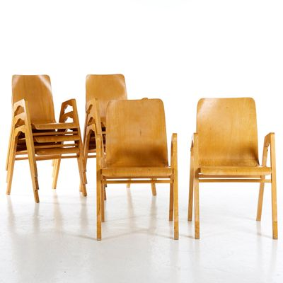 Sedie Impilabili Economiche Prezzi.Sedie Impilabili Di Axel Larsson Per Getama Set Di 8