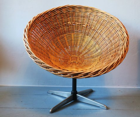 Mid Century Rattan, Iron U0026 Steel Swivel Pod Chair, 1960s 1