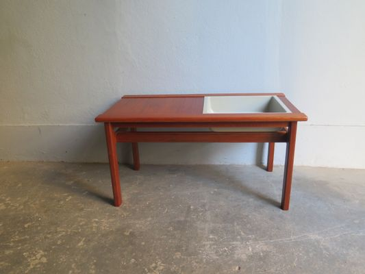 Vintage Danish Teak Table With Plant Container 1