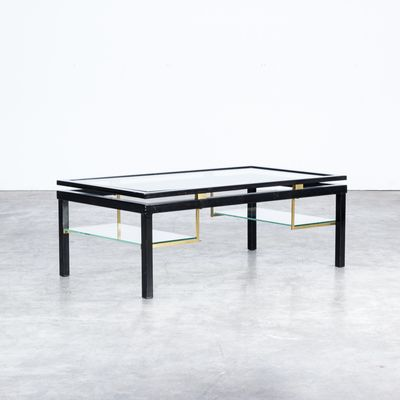 Glass And Brass Coffee Table 1980s For Sale At Pamono