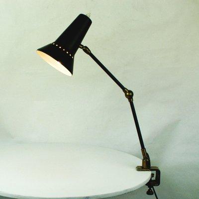 Mid Century Italian Brass Clamp Desk Lamp By Stilnovo, 1950s