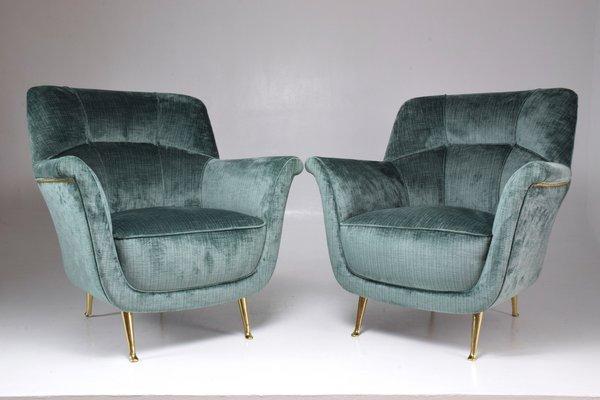 Superbe Mid Century Italian Lounge Chairs From ISA Bergamo, 1950s, Set Of 2 1