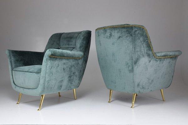 Mid-Century Italian Lounge Chairs from ISA Bergamo, 1950s, Set of 2