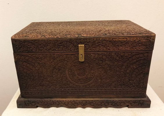 Antique Carved Solid Wood Log Box Boxes/chests Antique Furniture