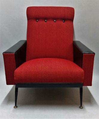 Gentil French Red And Black Armchair, 1960s