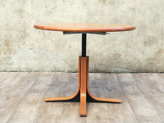 Round Wood Metal Dining Table 1960s