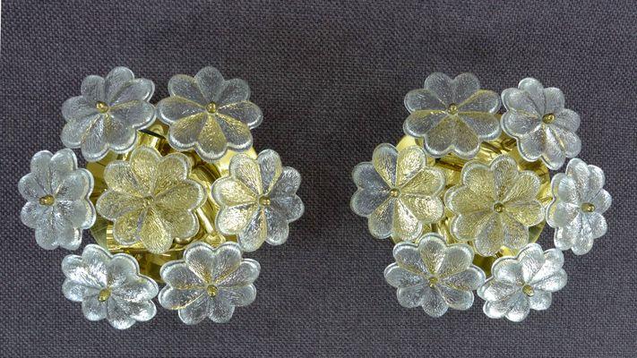 Applique con fiori in vetro di ernst palme anni 60 set di 2 in