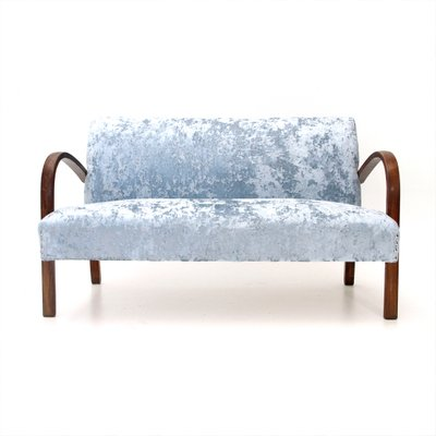 Bon Vintage Blue Velvet Sofa, 1940s