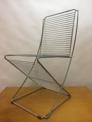 Vintage Metal Chrome Wire Chair 1970s 1