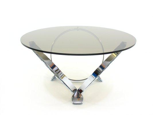 Table Basse Ronde En Verre.Table Basse Ronde En Verre Et Chrome Par Knut Hesterberg 1970s