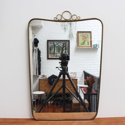 Miroir Mural Mid Century Avec Cadre En Laiton Par Gio Ponti Italie