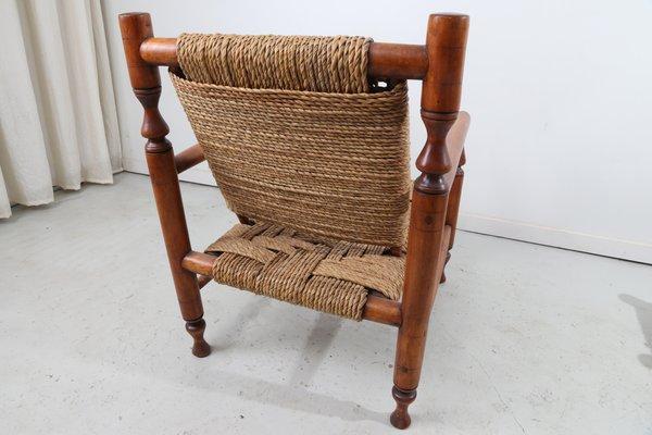Poltrone vintage in corda con due sgabelli in vendita su pamono