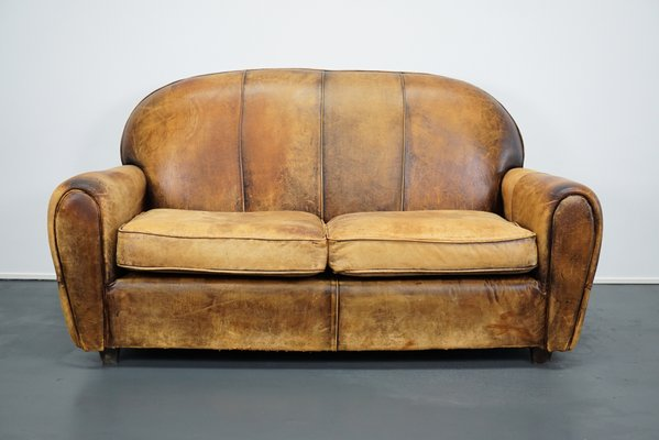 Dutch Cognac Leather 2 Seater Sofa