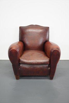 Vente Fauteuil Club fauteuil club moustache vintage en cuir marron, france en vente sur
