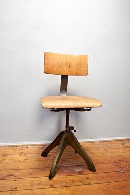 Vintage Drehstuhl Aus Holz Von Margarete Klober Fur Polstergleich