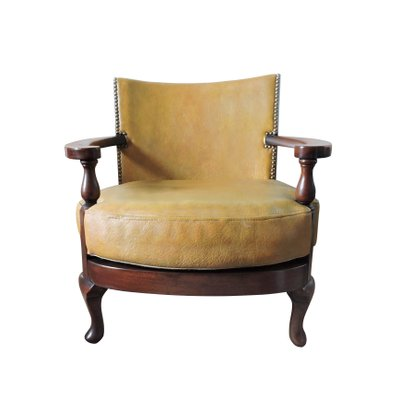 Vintage Mustard Yellow Leather And Wood Tub Chair 1