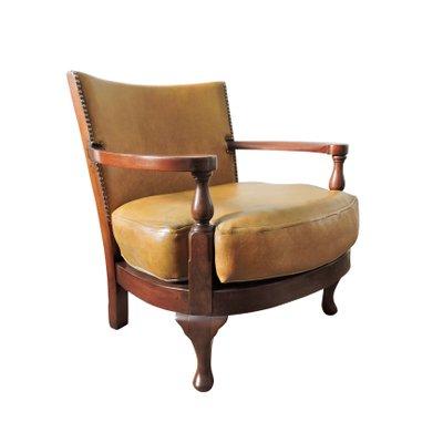 Brilliant Vintage Mustard Yellow Leather And Wood Tub Chair Creativecarmelina Interior Chair Design Creativecarmelinacom