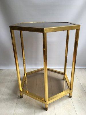 Table Basse Hexagonale Vintage En Laiton France