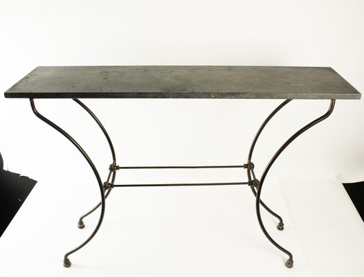 Napoleon Iii Wrought Iron Console Table With Marble Top 1
