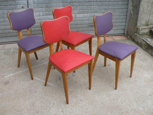 Franzosische Stuhle In Rot Und Lila 1950er 4er Set Bei Pamono Kaufen