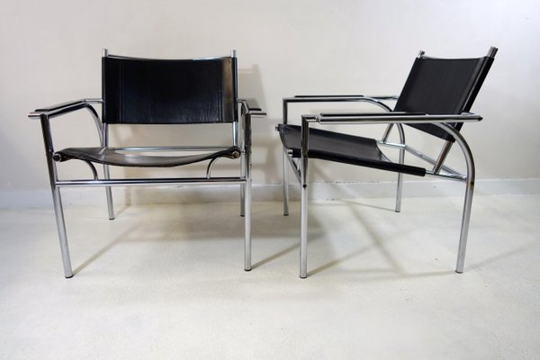 Design Bank Leolux.Model 4735 Tubular Steel Black Leather Chairs By Gerard