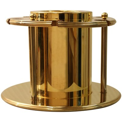 Vintage Gold-Plated Champagne Cooler with Crystal Bottle Stop
