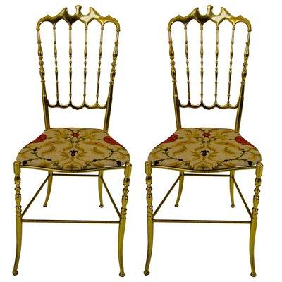 Hollywood Regency Chiavari Brass Chairs, 1950s, Set Of 2 1