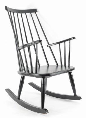 Rocking Chair Noir de Lena Larsson par Nesto Sweden pour Pastoe, 1950s