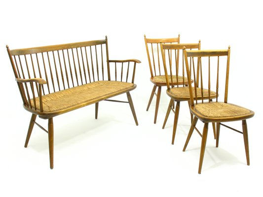 Bench With 3 Chairs Set By Arno Lambrecht 1960s For Sale At Pamono