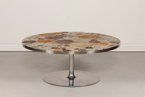 Round Mid Century Danish Coffee Table With Tiles By Tue Poulsen 1960s 1