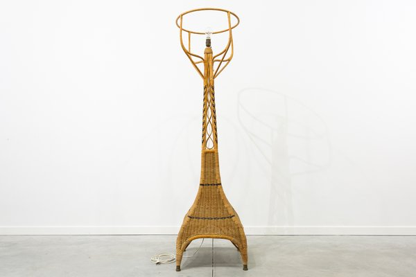 Vintage Braided Wicker And Bamboo Floor Lamp 1