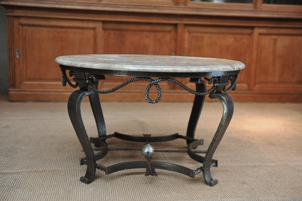 Vintage Iron Coffee Table With Marble Top 1940s 1