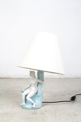 Art Deco Hand Painted Porcelain Table Lamp With A Woman Figure 1