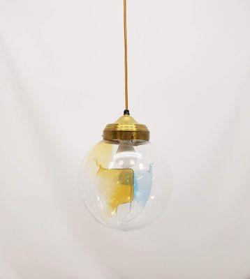 Lampe à Suspension Boule en Cristal de Verre Murano, 1970s