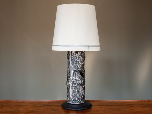 Mid Century Brutalist Black Silver Metal Table Lamp 1