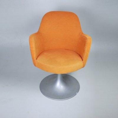 Silla giratoria de oficina naranja, años 70