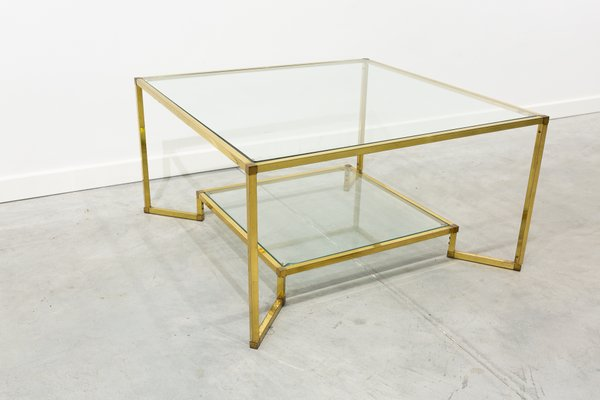 Gold Brass And Glass Coffee Table 1960s For Sale At Pamono