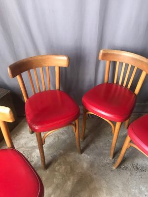Strange Mid Century Bistro Chairs In Red Leather Set Of 4 Pdpeps Interior Chair Design Pdpepsorg