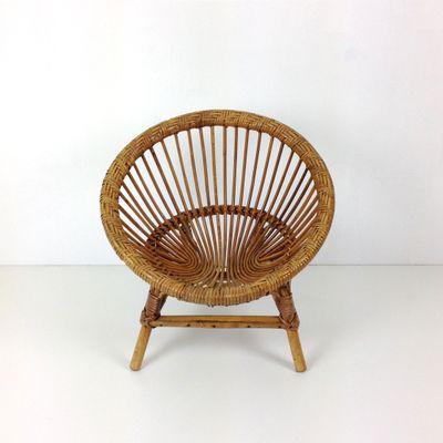 Vintage Round Rattan Childrenu0027s Armchair 3
