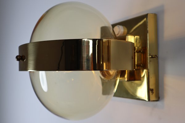 Brass Wall Scones With Hand Blown Glass Globe 1960s