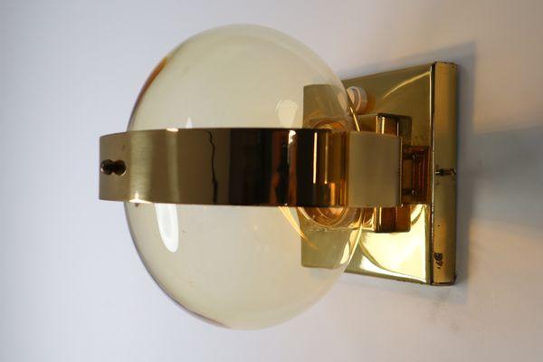 Applique in ottone e vetro soffiato a mano anni 60 in vendita su