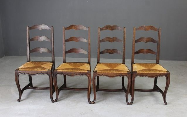 Antique French Ladderback Dining Chairs, Set 4 1