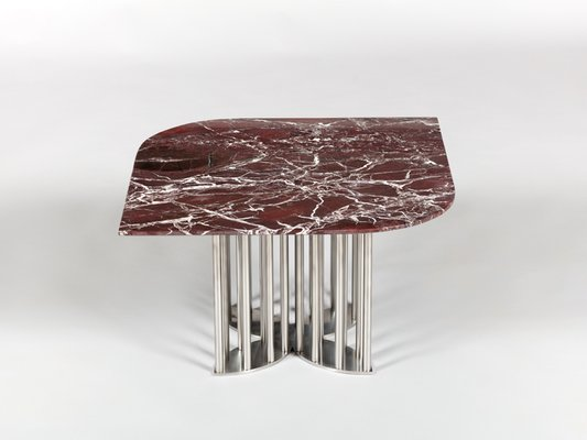 Naiad Coffee Table In Rosso Levanto Marble Stainless Steel By Naz Yologlu For Naaz For Sale At Pamono
