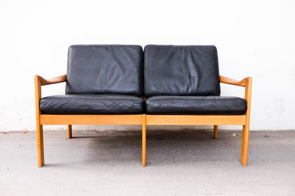 Oak Sofa With Leather Cushions By Illum Wikkelsø For Niels Eilersen, 1960s 1