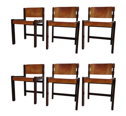Surprising Oak Dining Chairs In Cognac Saddle Leather 1970S Set Of 6 Ibusinesslaw Wood Chair Design Ideas Ibusinesslaworg