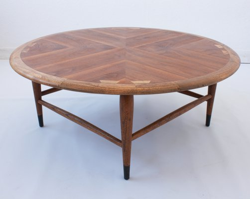 Walnut Marquetry Coffee Table By Andre Bus For Lane Furniture 1960s 1