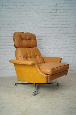 Magnificent Large Reclining Lounge Chair In Cognac Leather 1960S Short Links Chair Design For Home Short Linksinfo