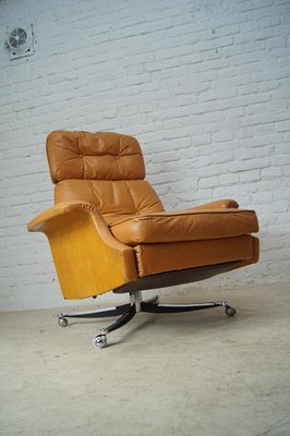 Outstanding Large Reclining Lounge Chair In Cognac Leather 1960S Short Links Chair Design For Home Short Linksinfo