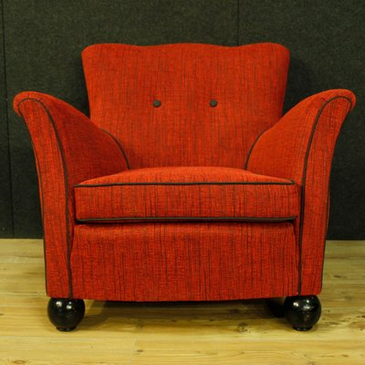 Red Fabric Armchairs From Fede Cheti 1950 Set Of 2 For Sale At Pamono